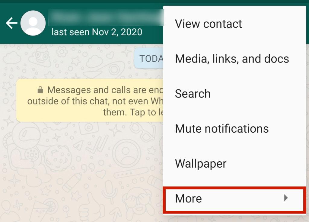 Showing WhatsApp kebab menu items