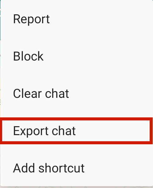 Export Chat option in WhatsApp