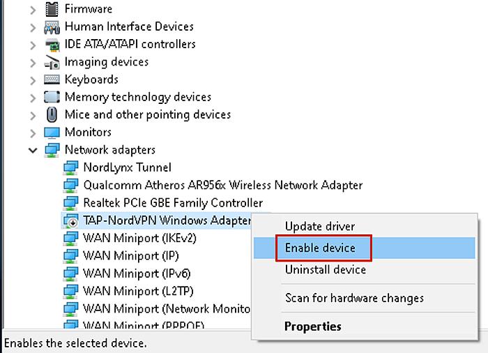Enabling TAP-NordVPN Windows Adapter V9