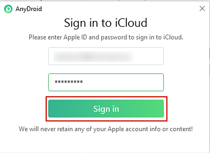 AnyDroid Sign in to iCloud panel