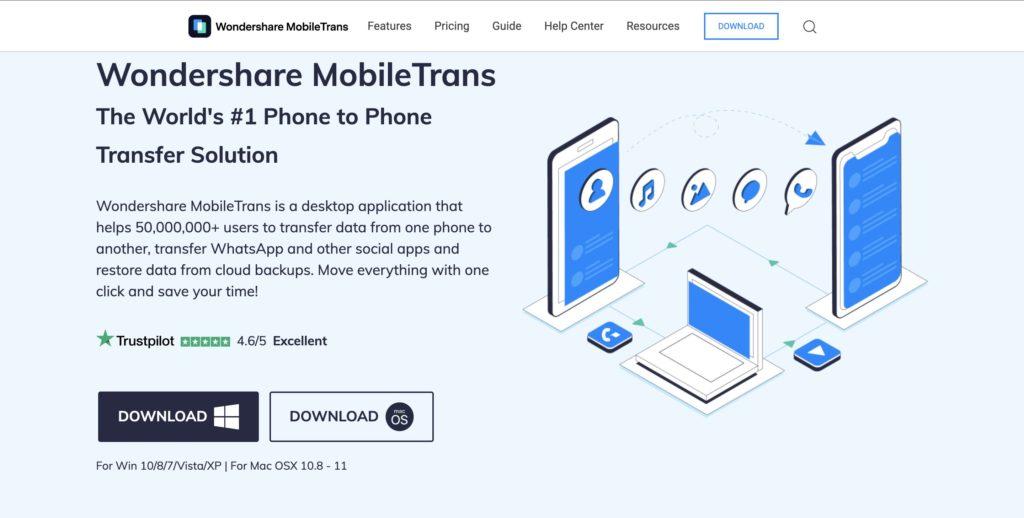 MobileTrans Home Page