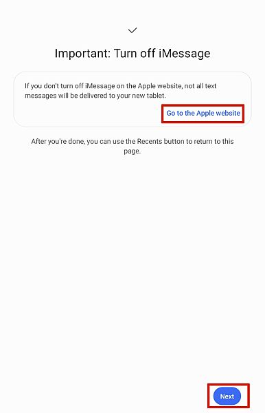 Samsung Smart Switch Turn off iMessage Screen