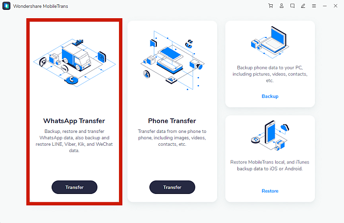 Wondershare Mobile Trans App Dashboard
