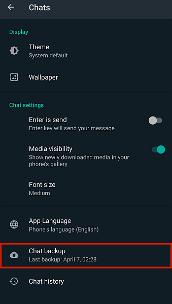 WhatsApp Chats Settings with Chat Backup Option Highlighted
