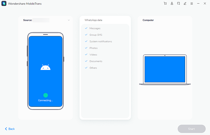 Wondershare Mobile Trans App Connecting Android Phone