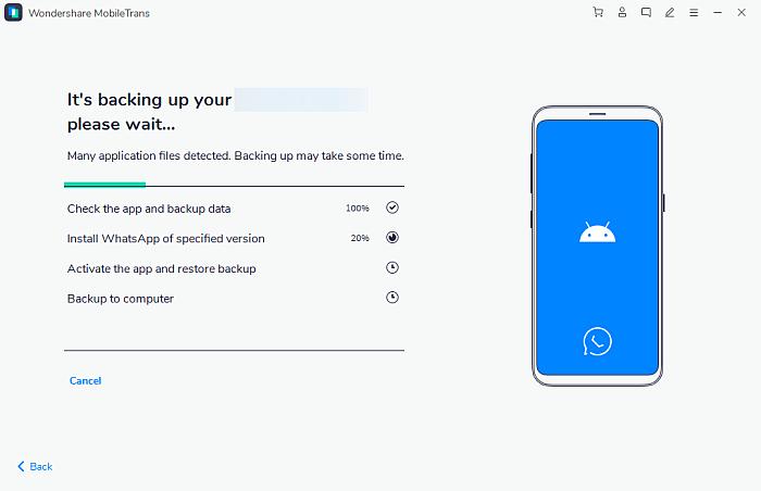 Wondershare Mobile Trans App Backing Up Data Panel
