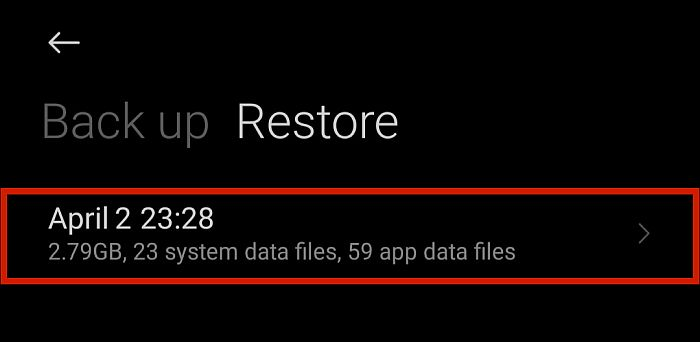 App and file restoration details in Android phone