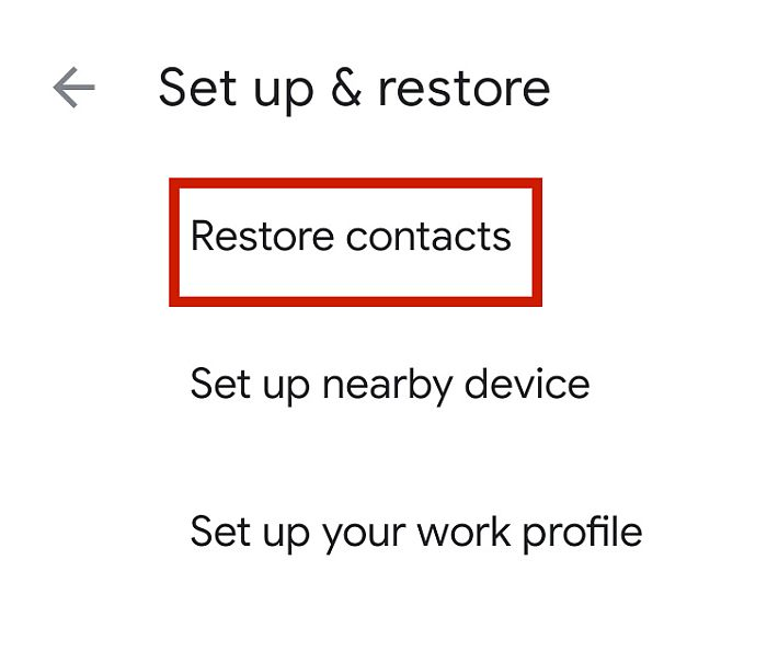 Restore contacts option highlighted in Google Services tab in Android
