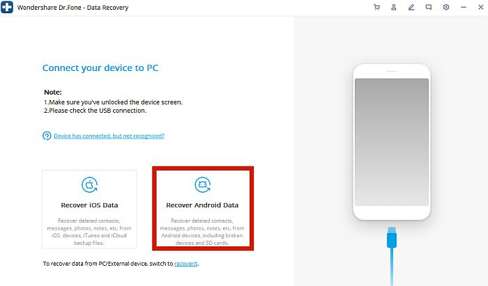 Dr. Fone Connect your device to PC Page with Recover Android Data selected