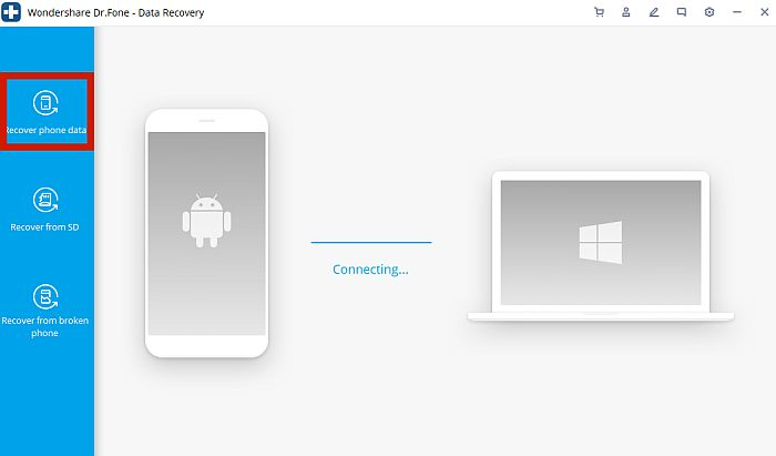 Dr. Fone Mobile to PC connection UI with Recover phone data option highlighted
