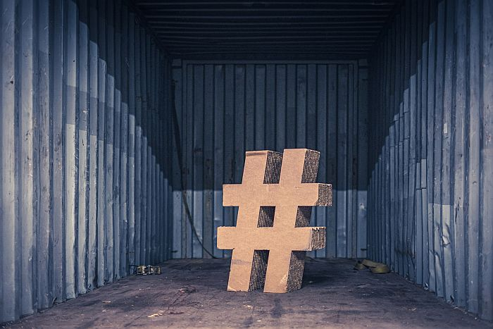 3D Hashtag In An Empty Storage Space