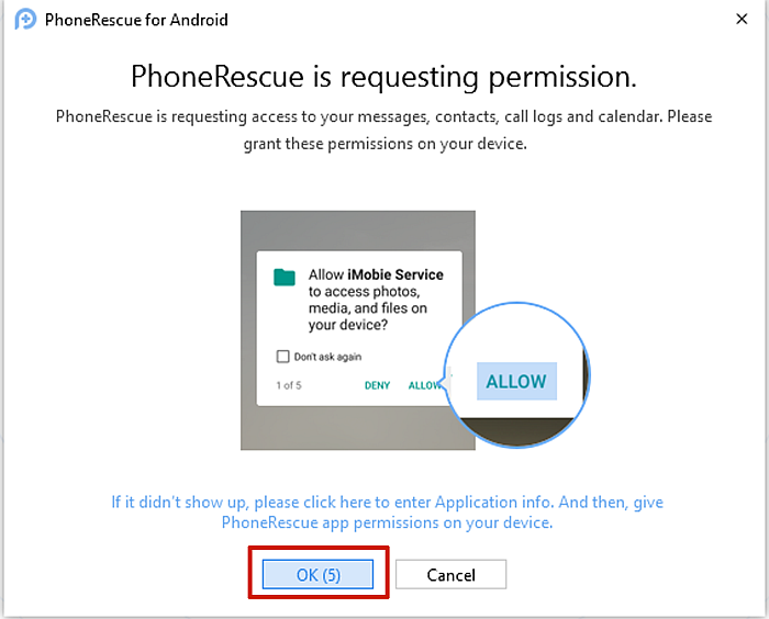 PhoneRescue Prompt to Grant Access To Data On Mobile Phone