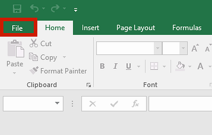 MS Excel Menu Bar with File Menu Highlighted