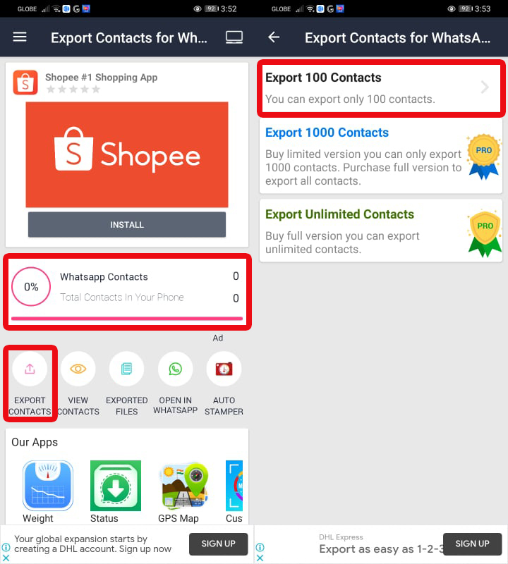 Export Contacts > Export 100 Contacts