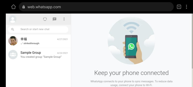 WhatsApp Web on Android Phone