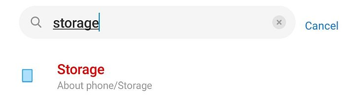 Storage Search Result In Android Device Settings Tab
