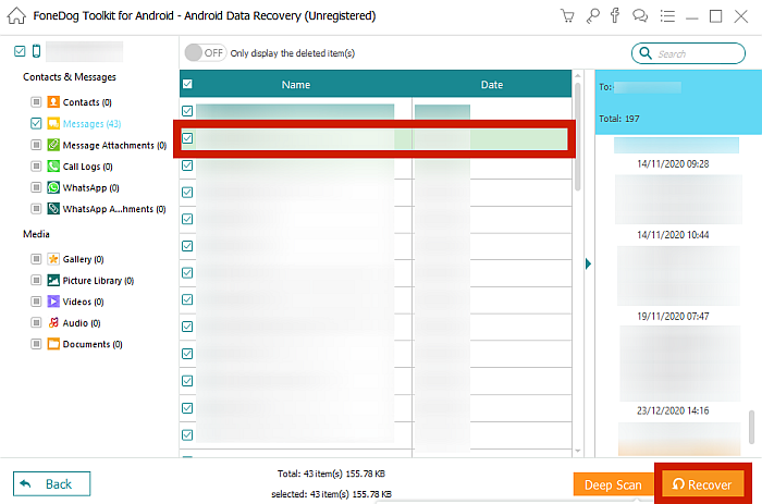 FoneDog Toolkit Showing Scanned Messages From Android Device