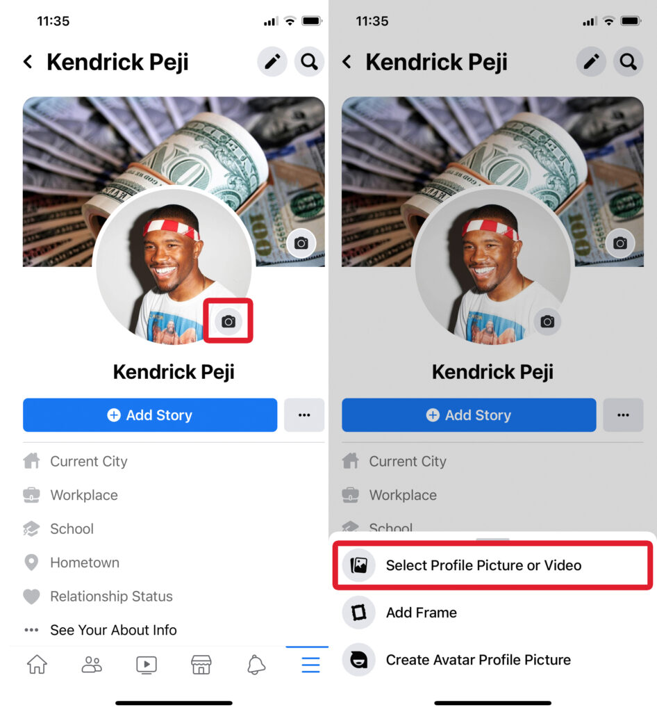 Select Profile Picture or Video
