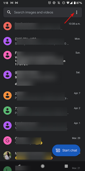 The three vertical dots on the Messages search bar at the top of Phone screen