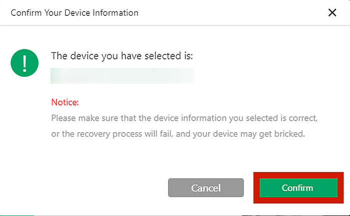 iMyFone D-Back  Device Information Confirmation