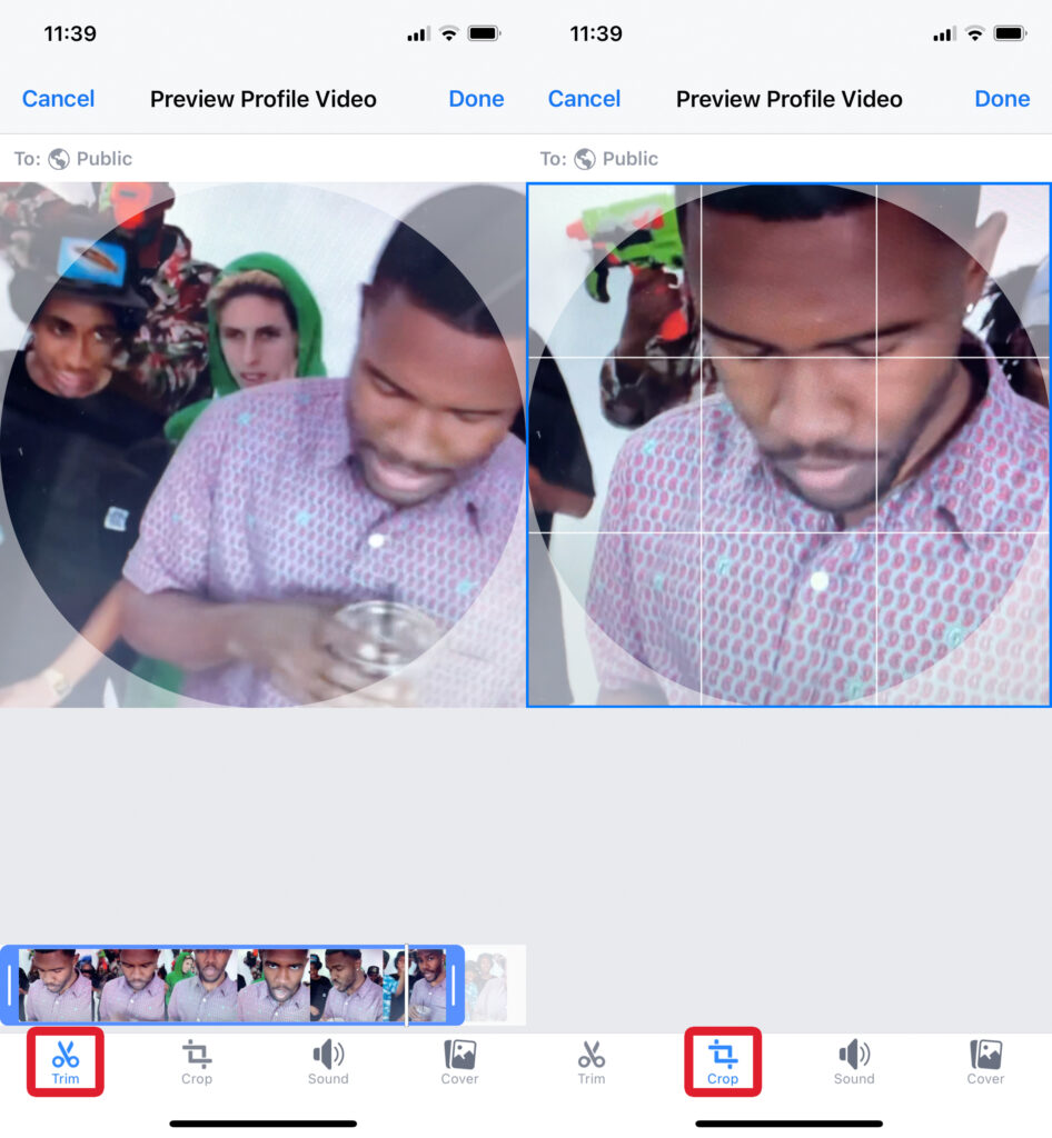 Trim & Crop Profile Video