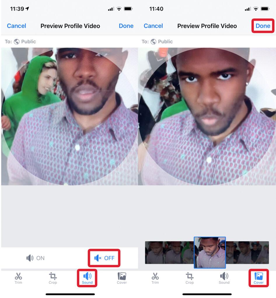 Mute & Cover of Profile Video