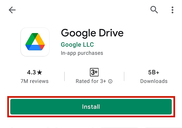 Google Drive Profile In Google Play With Install Button Highlighted