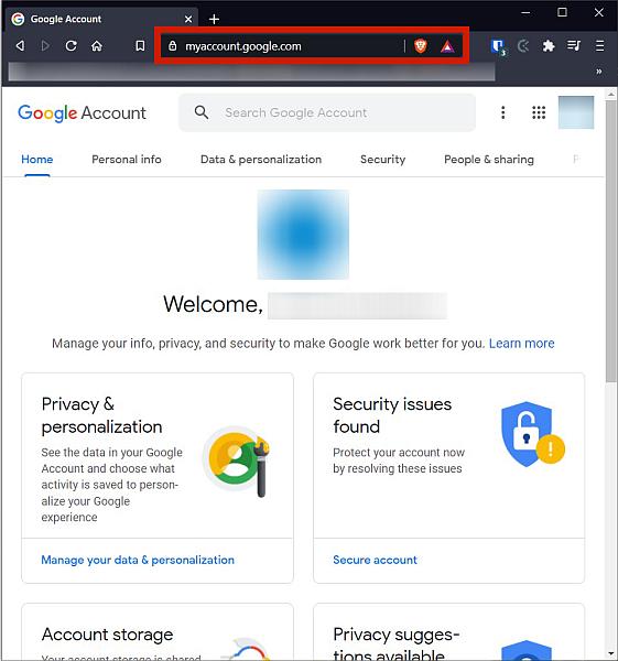 Google Account Page In Desktop Browser