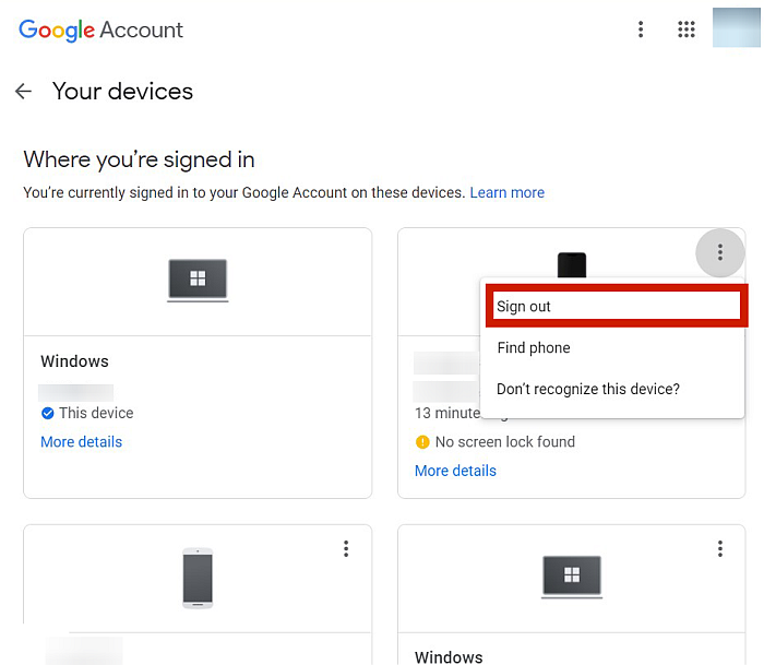 Your Devices Page In Google Account On Desktop Browser
