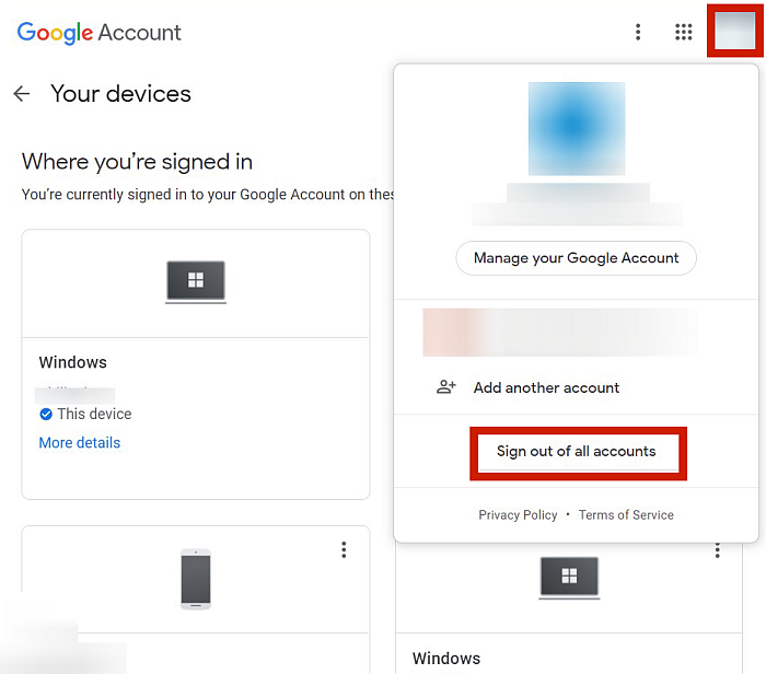 Your Devices Page In Google Account On Desktop Browser with Sign Out Of All Accounts Option Highlighted