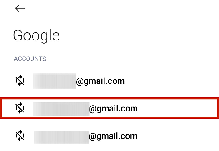 Google Sync Options Showing Available Accounts for Syncing