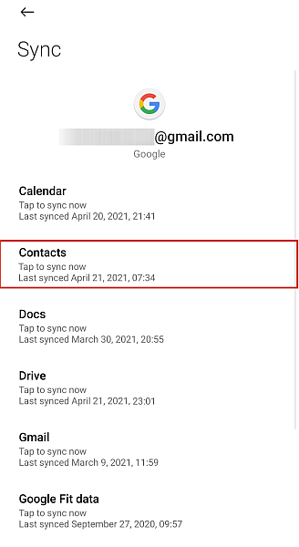 Google Sync Options With Contacts Option Highlighted