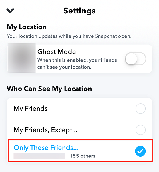 Snapchat Map Settings With Only These Friends Option Showing Number of Friends Chosen