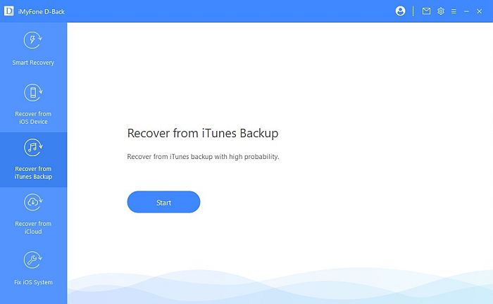 Recover from iTune Backup Tab in iMy Fone D-Back