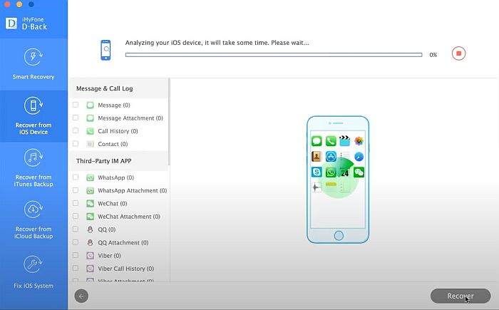 iMyFone Smart Recove from iOS Device Tab iOS Device Analysis