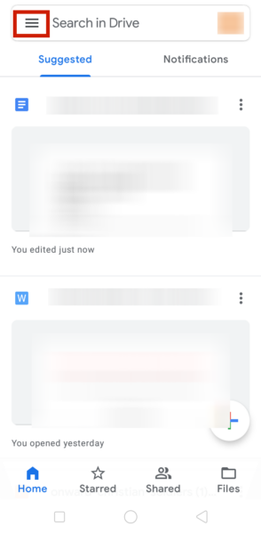 Google Drive App Dashboard in Android