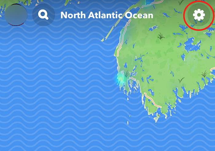 Map Page In Snapchat With Settings Icon Highlighted