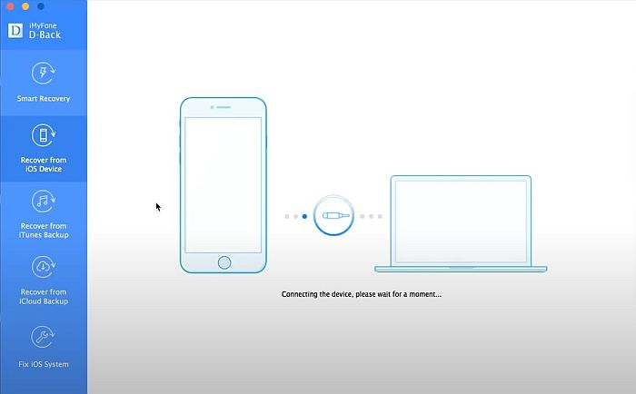 iMyFone D-back Connecting Device Page