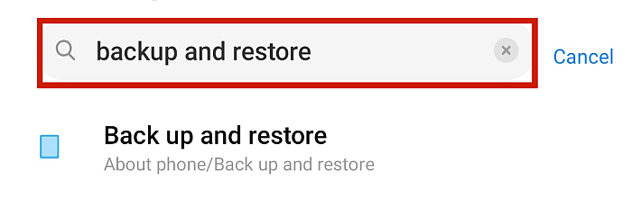 Android Phone Settings Search Result For Backup and Restore