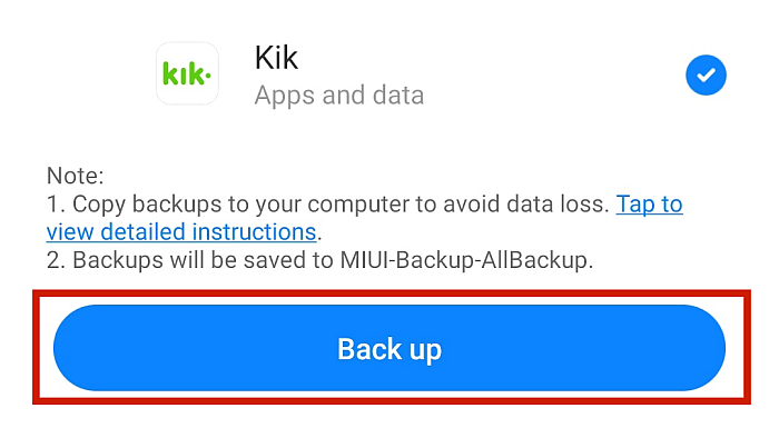 Kik App Back Up Tab with Back Up Button Highlighted