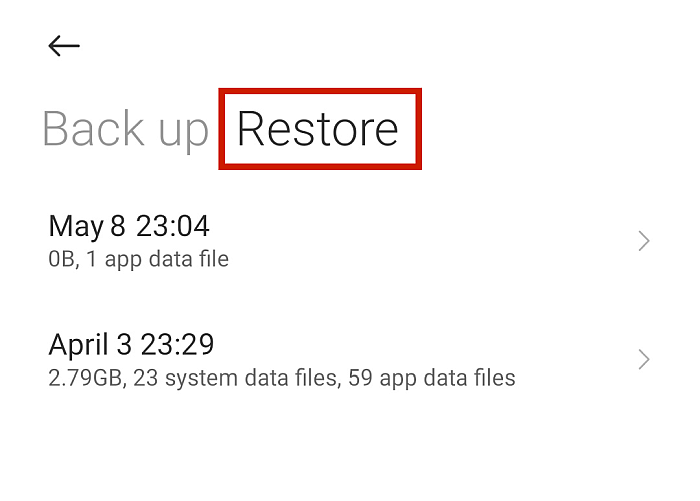 Back Up and Restore Screen In Android with Restore Option Highlighted