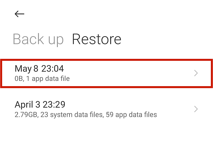 Android Restore Screen With Available Back Up Options to Restore