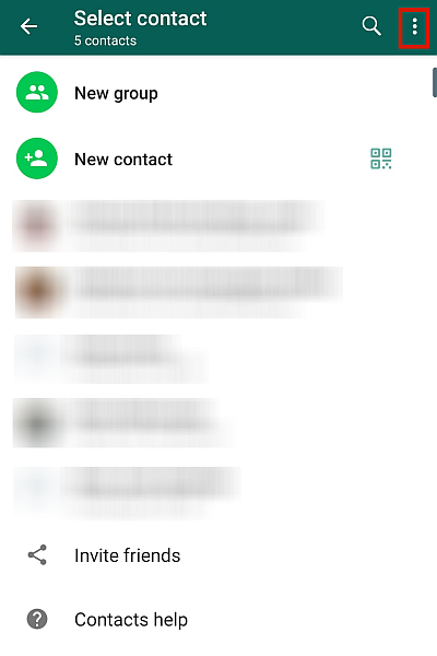 WhatsApp Contact List With The Kebab Icon Highlighted