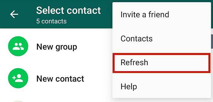 WhatsApp Dropdown Menu Options with Refresh Option Highlighted
