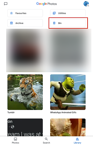 Google Photo Library With Bin Option Highlighted