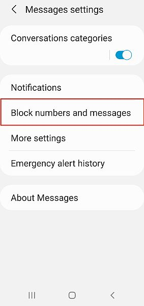 Samsung Messages Settings with Block Numbers and Messages Option Highlighted