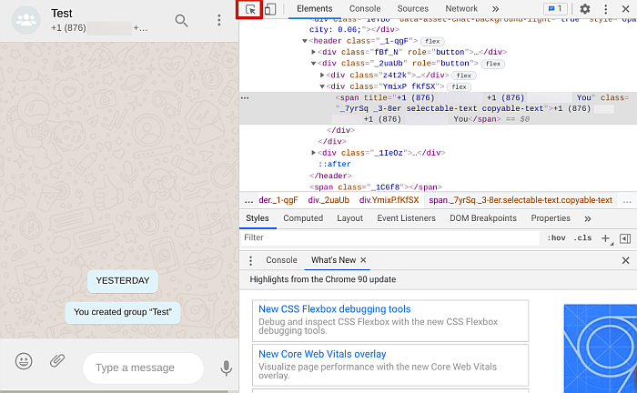 WhatsApp Web page Back-end code with small arrow at the top right-hand corner of the coding page selected