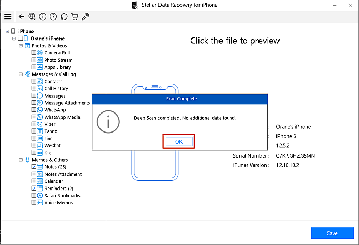 Stellar Data Recovery for Iphone Deep Scan Completed Prompt