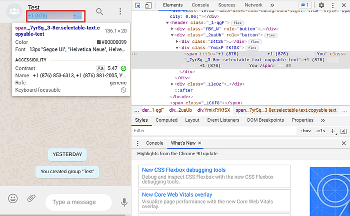WhatsApp Web page Back-end code showing code details of a WhatsApp Chat