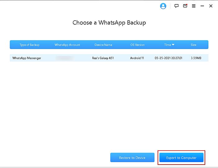 iTransor WhatsApp Backup Selection Page